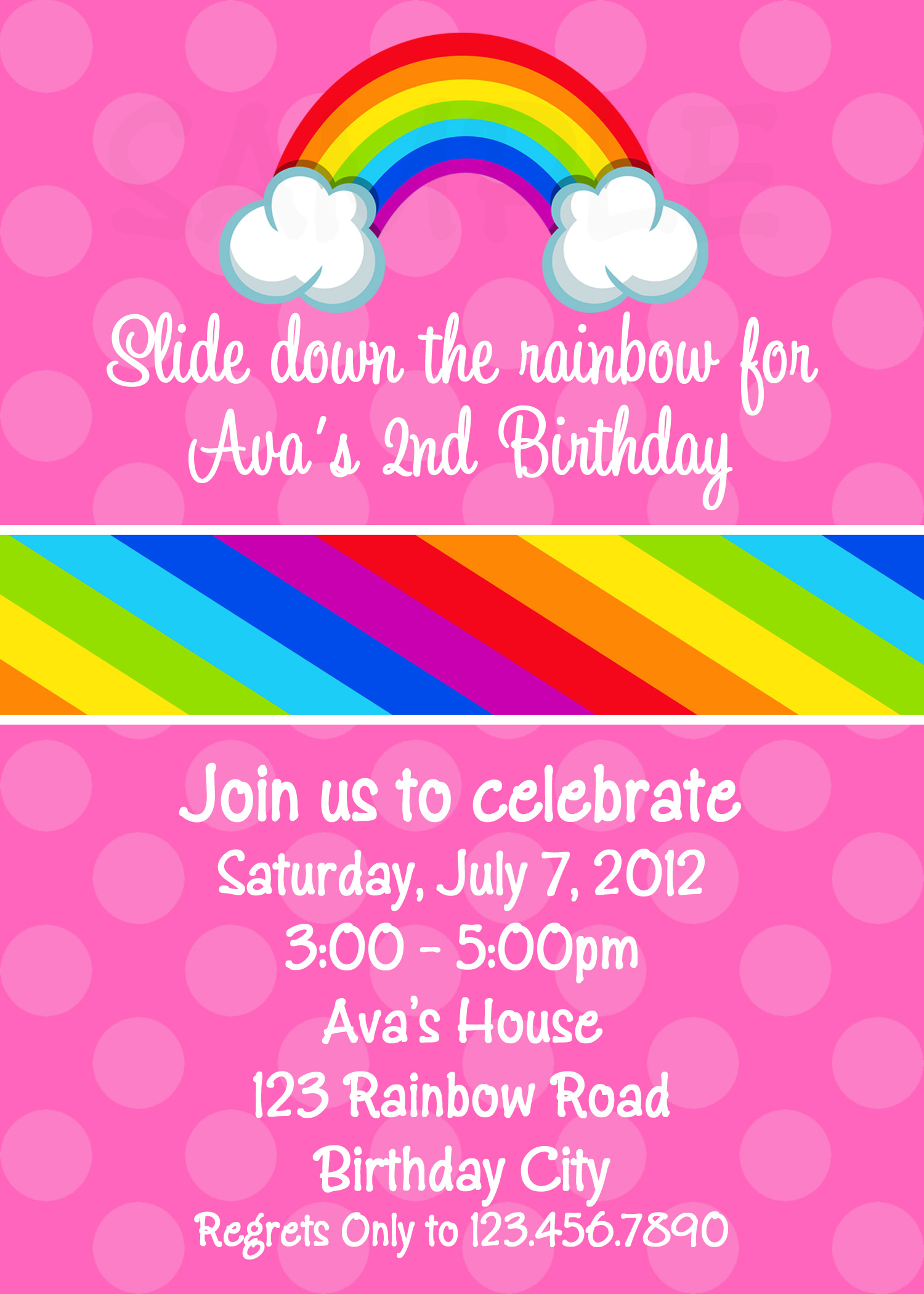 Printable Birthday Invitations, Girls Rainbow Party