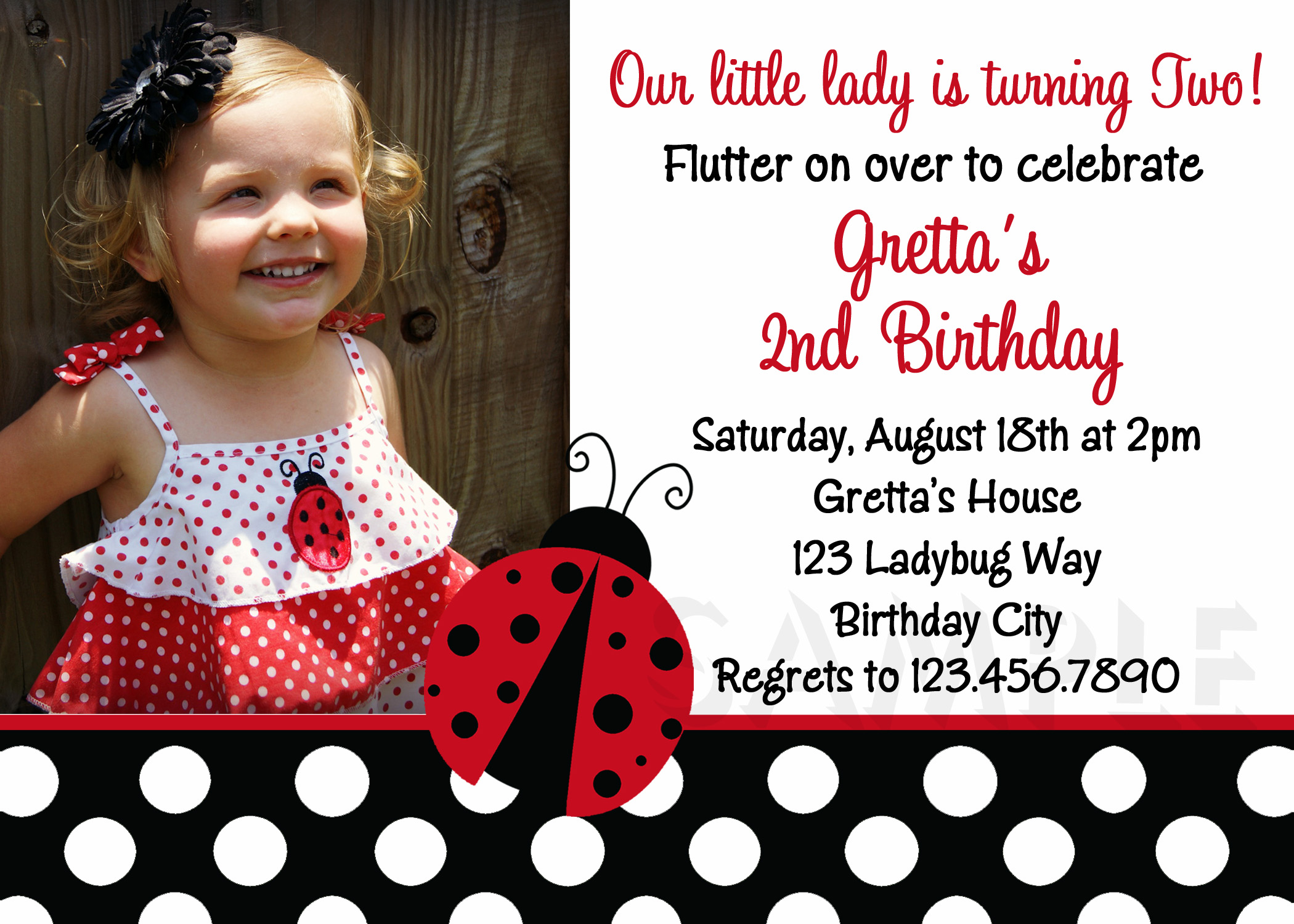 Printable Birthday Invitations Ladybug First Party Red Ladybugs – Toddler Girl Birthday Invitations
