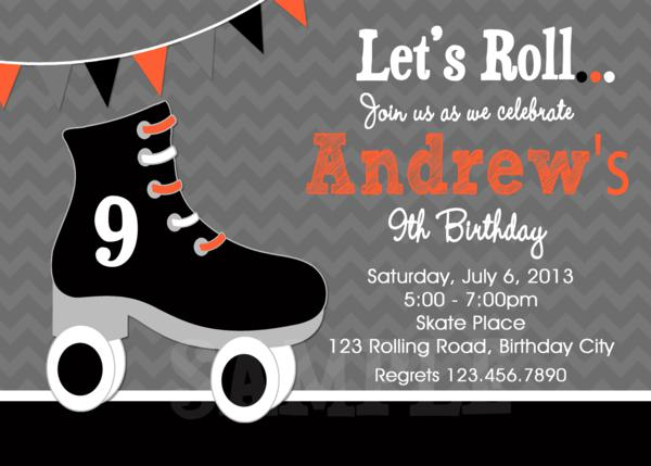 boys roller skating party, roller skating invitation, Birthday invitations