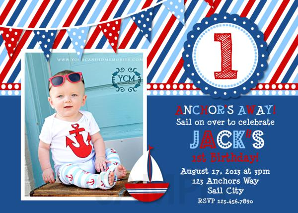 Nautical Birthday Party Invitations Sailboat Invitation