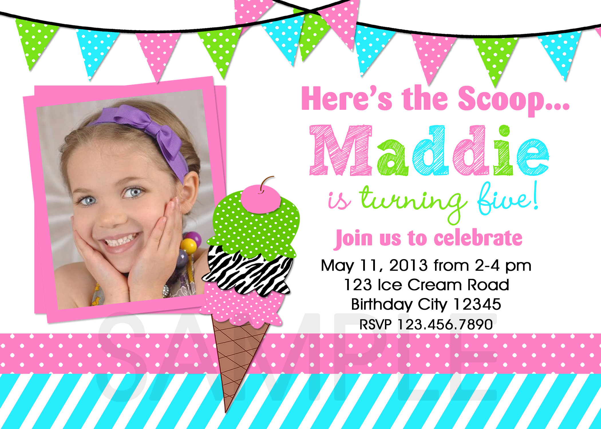 Ice Cream Birthday Party Invitations Summer Themed Invite Ice