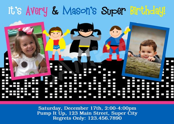 Twin Sibling Birthday Invites