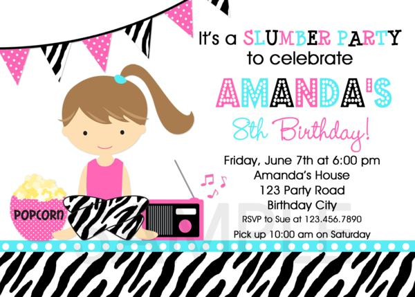 Sleepover Birthday Party Invitation Girls Slumber Party Slumber – Pajama Party Invites