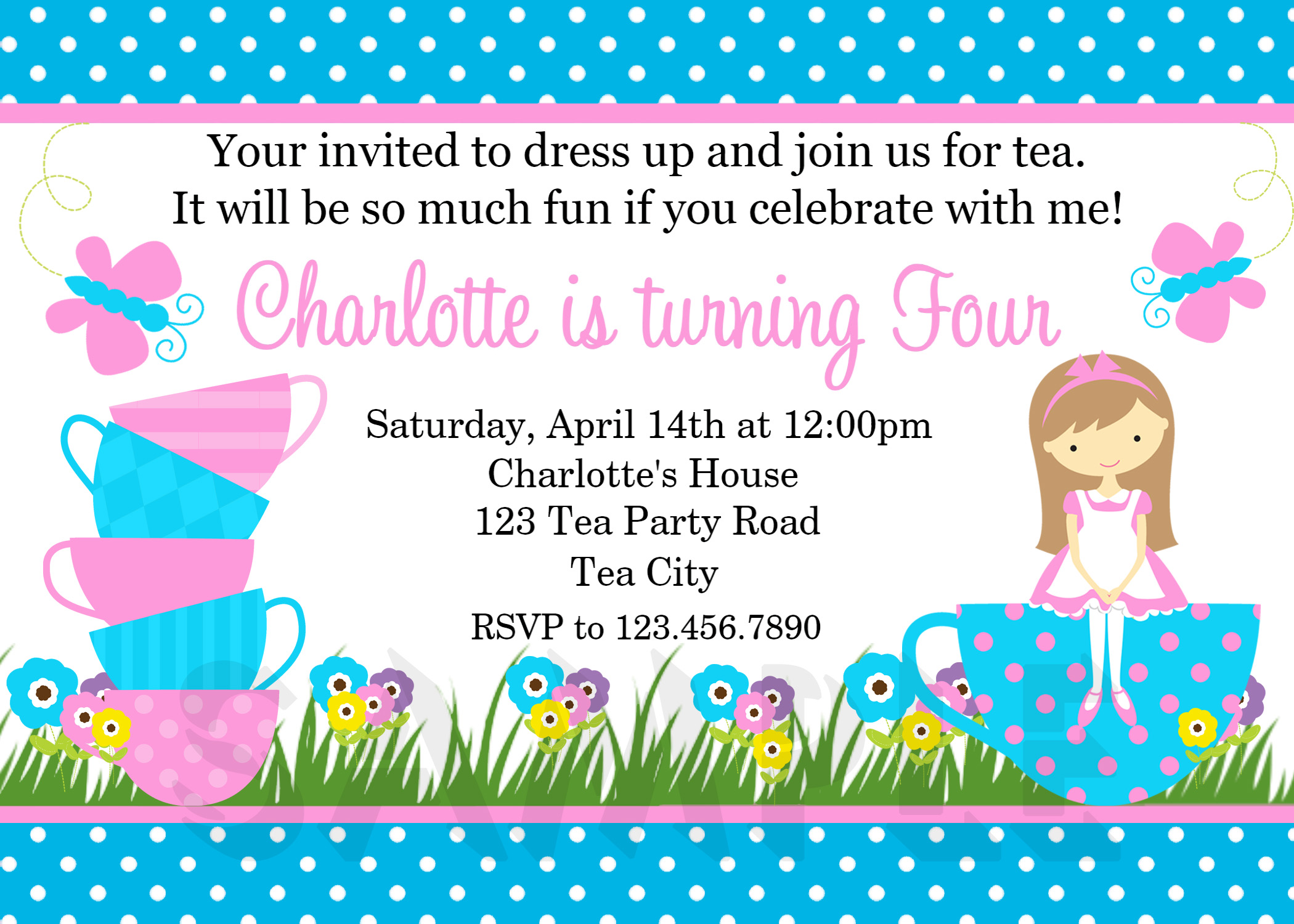 Printable Birthday Invitations, Girls Tea Party