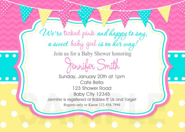 Baby Shower Invitations Tickled Pink Invite Printable Hot Pink