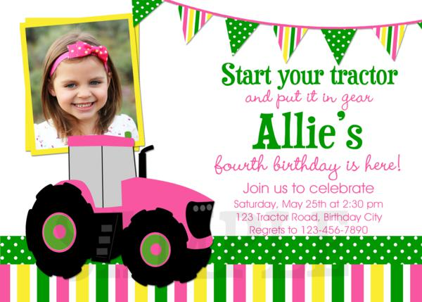 Fabulous Tractor Printable Birthday Party Invitations Green Pink IY73