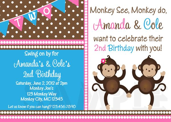 printable birthday invitations twins sibling party monkey themed