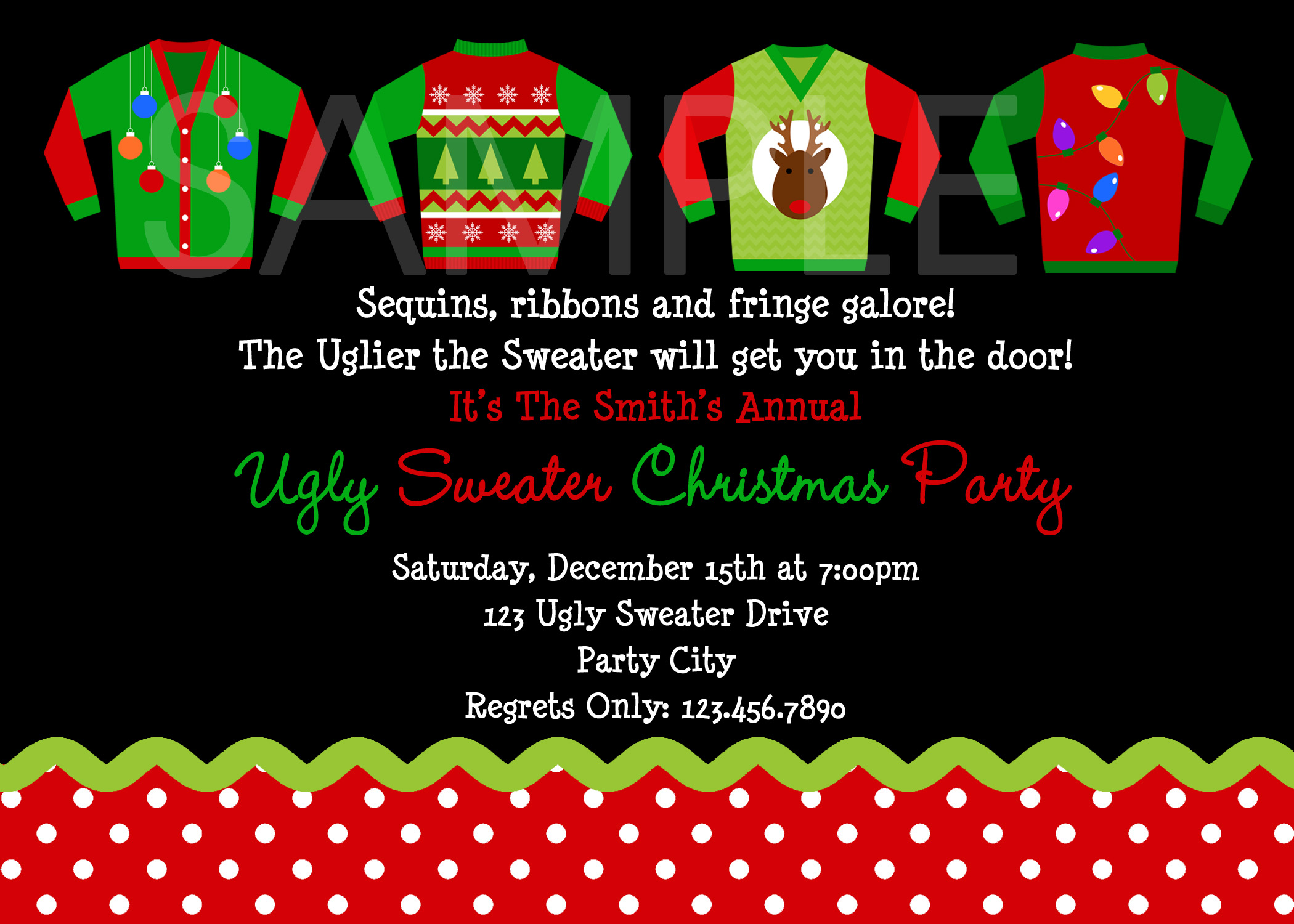 ugly christmas sweater party invitations  bbqprcom