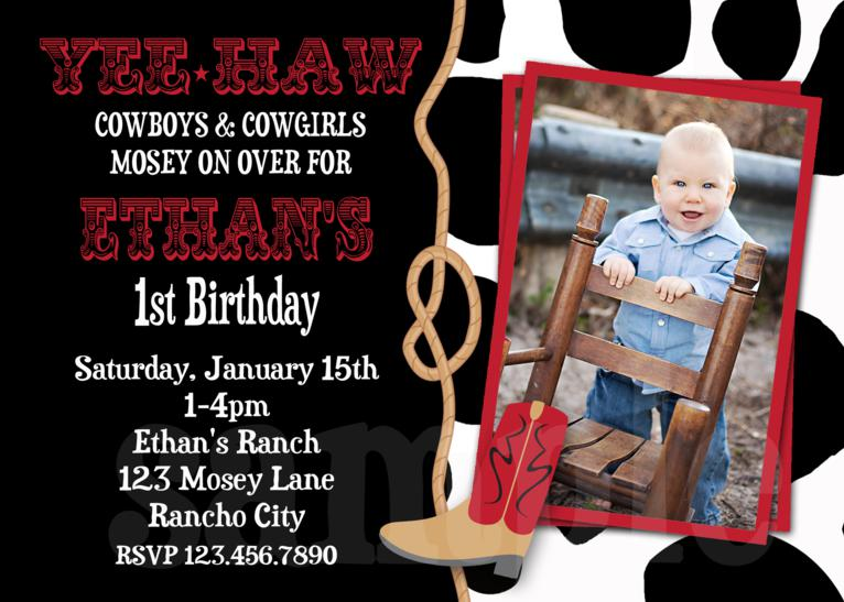 printable birthday invitations, western birthday party, cowboy, Birthday invitations