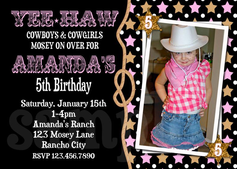 Cowgirl Printable Birthday Invitations Girls Western Birthday Party