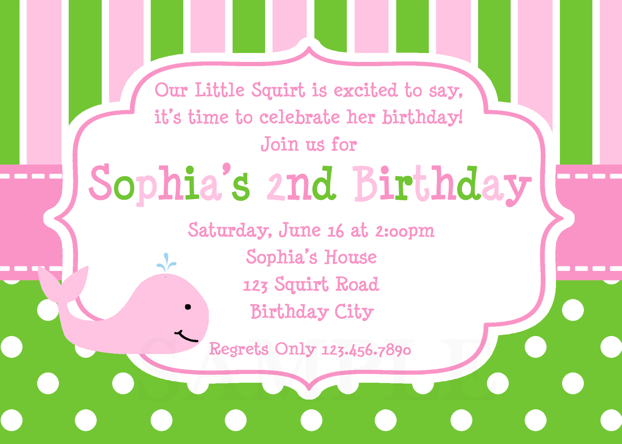 Printable Birthday Invitations, Girls Whale Party