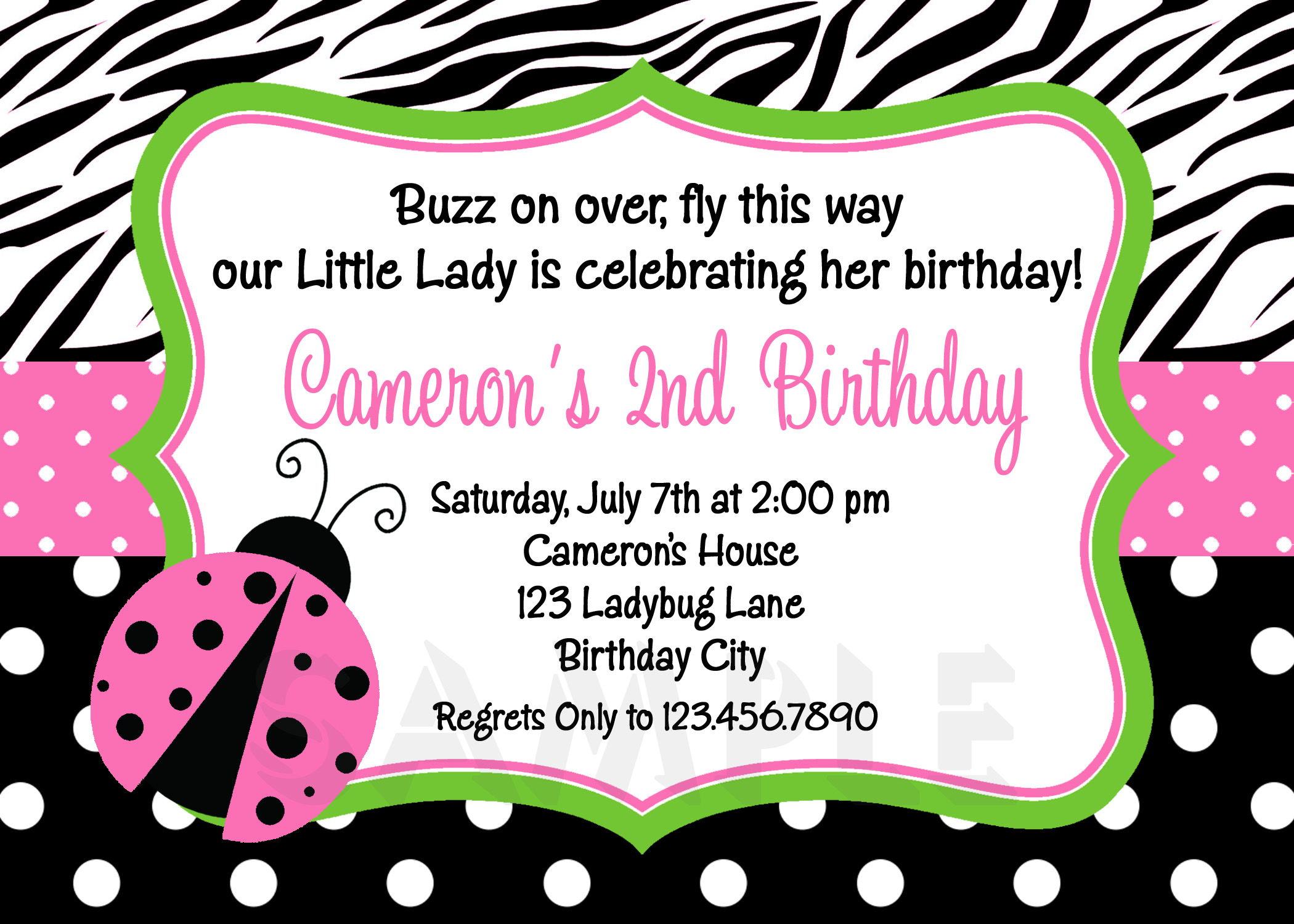 Printable Birthday Invitations Ladybug First Party Pink Ladybugs – Ladybug Birthday Cards