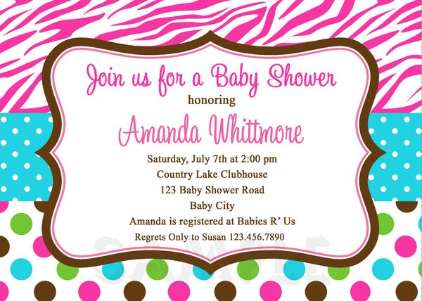 print your own baby shower invitations, pink zebra polka dot, Birthday invitations