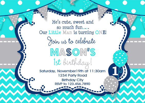 Birthday Invitation Boys Party Invitation Turquoise Grey Navy – Boy Party Invitations