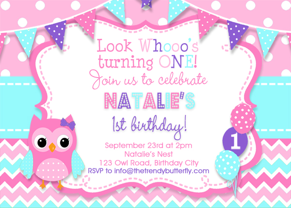 Girls owl birthday invitation girls 1st birthday invitation pink girls owl birthday invitation girls 1st birthday invitation pink purple turquoise blue owl invitation 2nd birthday printed invitations printable filmwisefo
