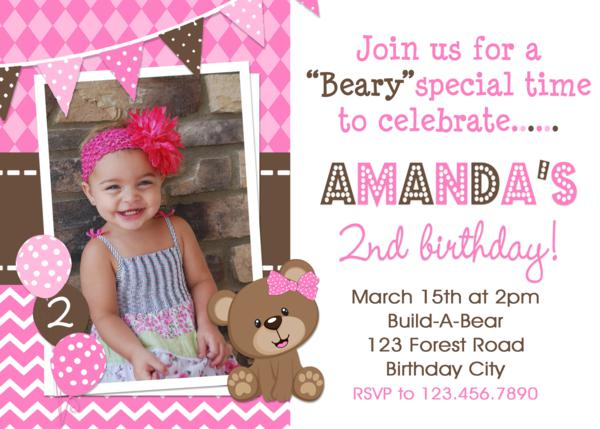 Printable birthday party invitations teddy bear birthday build a girls birthday invitation filmwisefo