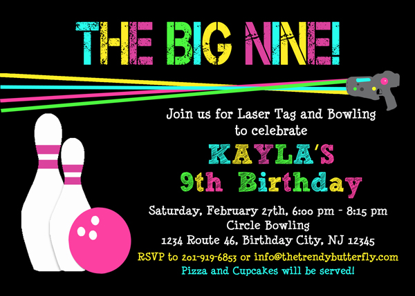Bowling Birthday Invitation Laser Tag Birthday Invitation Girls