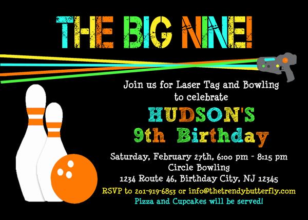 Tag Bowling Invitation Laser Tag Birthday Party Invitation Kids