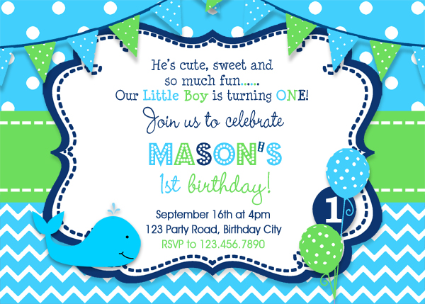 Whale Birthday Invitation Party Boys