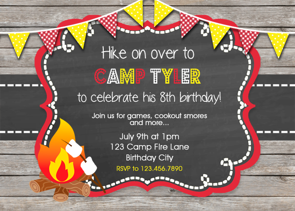 Camping invitation camping party invitation camping birthday party printable boy birthday invitation filmwisefo