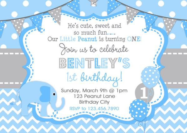 Elephant Birthday Invitation Boys 1st Birthday Invitation – Elephant Party Invitations