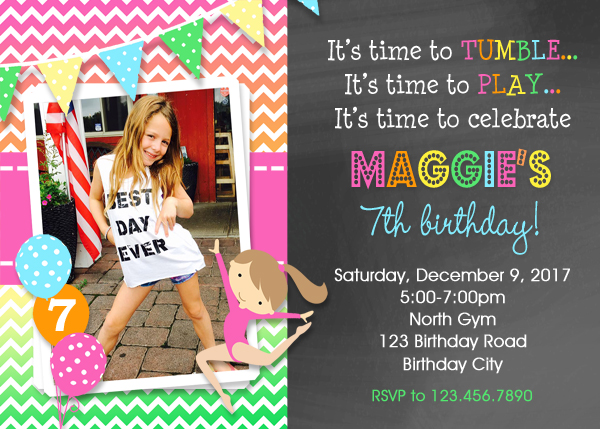 Gymnastics Birthday Invitation Party Invitations