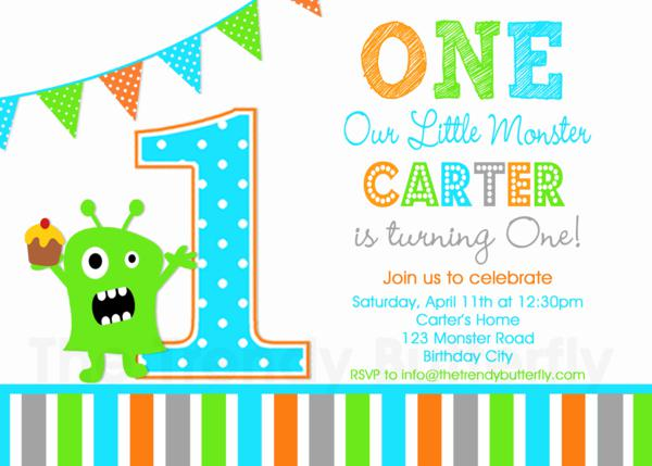 Monster Birthday Party Invites Monster 1st Birthday Invitation – Monster Party Invites