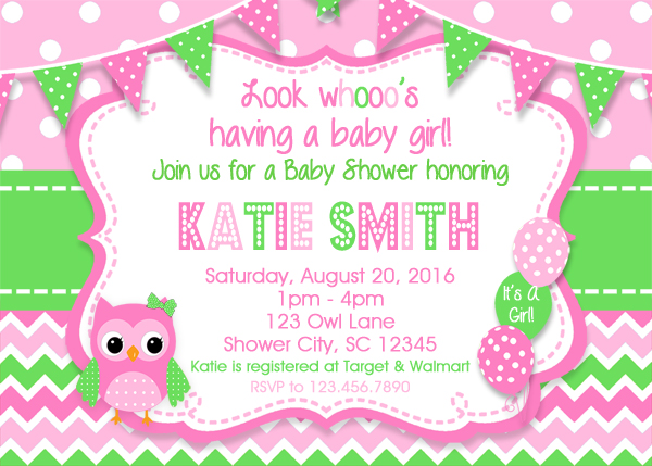 Baby Shower Invitations Owl Baby Shower Invitation Girl Baby
