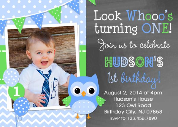 Owl Birthday Invitation Boys Owl Birthday Party Boys 1st