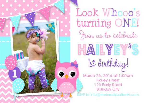 Pink And Purple Owl Birthday Invitation 1st