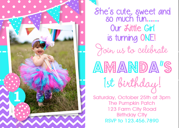 Girls 1st Birthday Invitation Purple Pink Turquoise