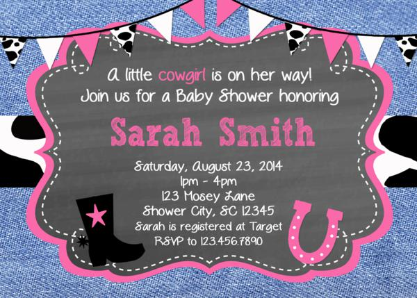 cowgirl baby shower invitations, western shower invite, printable, Baby shower invitations