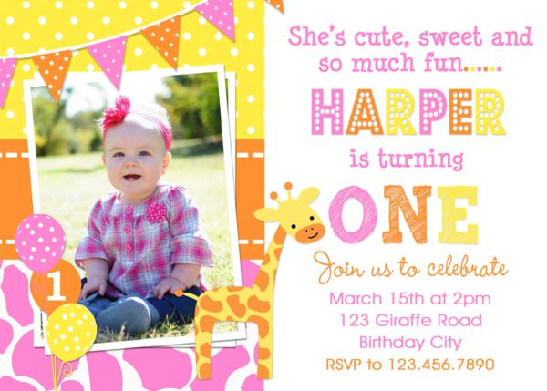 giraffe birthday invitation girls 1st birthday giraffe invitation