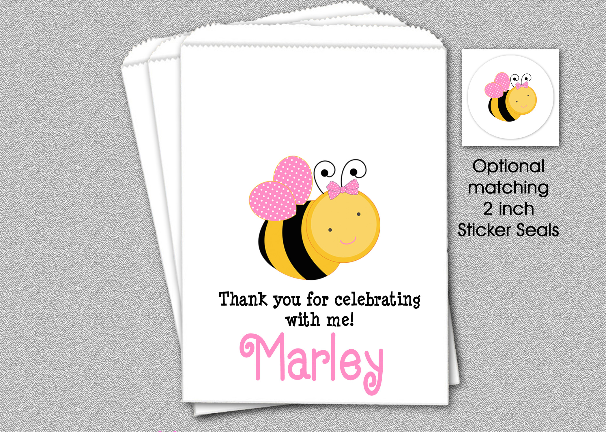 Bee Party Favor Bags, Personalized Bee Birthday Party Favor Bags ...