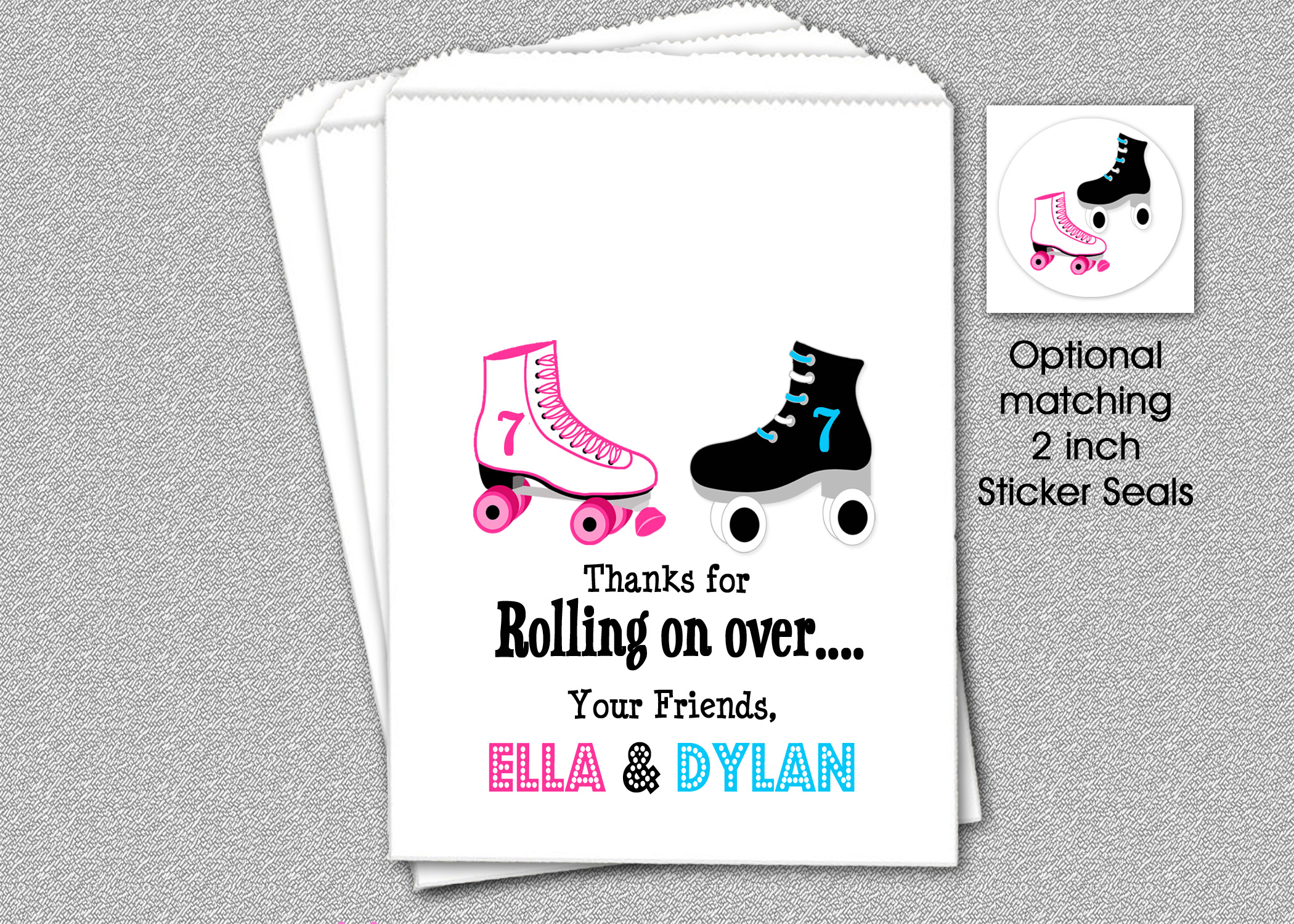 Skating Party Favor Bags Siblings Party Favor Candy Bags Candy