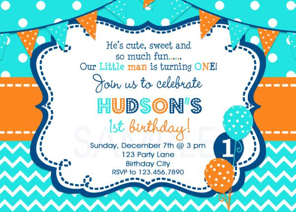 Boys 1st Birthday Invitation Chevron Birthday Invitation