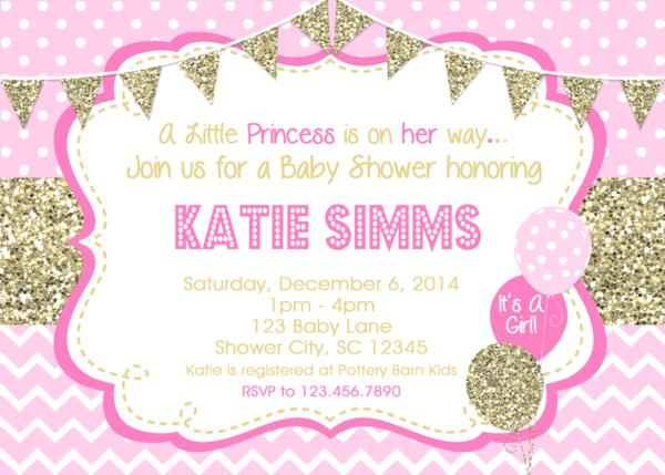 Baby shower invitations gold pink baby shower print your own baby shower invites filmwisefo
