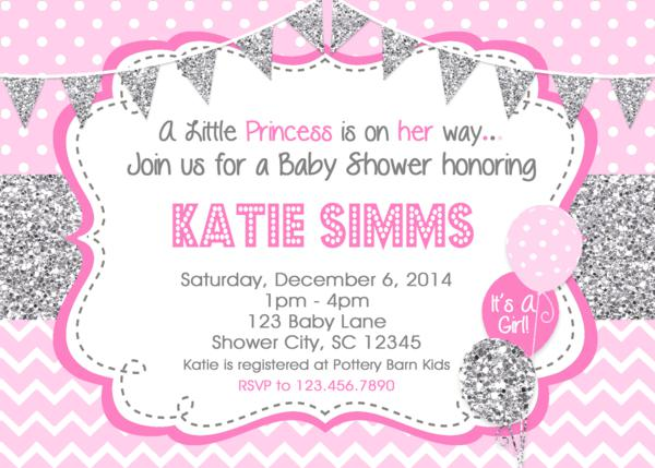 Baby Shower Invitations Silver Pink Baby Shower