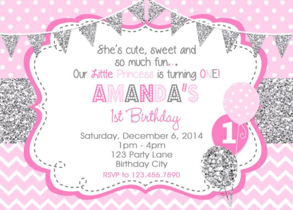 silver birthday invitations girls 1st birthday invitation glitter