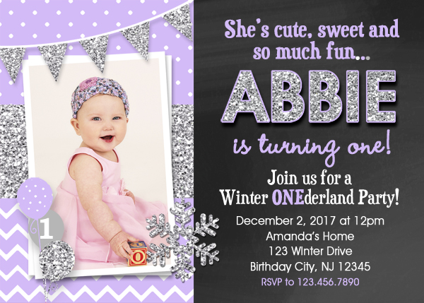 purple and silver birthday invitation onederland snowflake