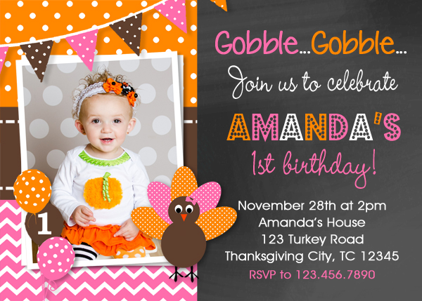 Thanksgiving Turkey Birthday Invitation Party