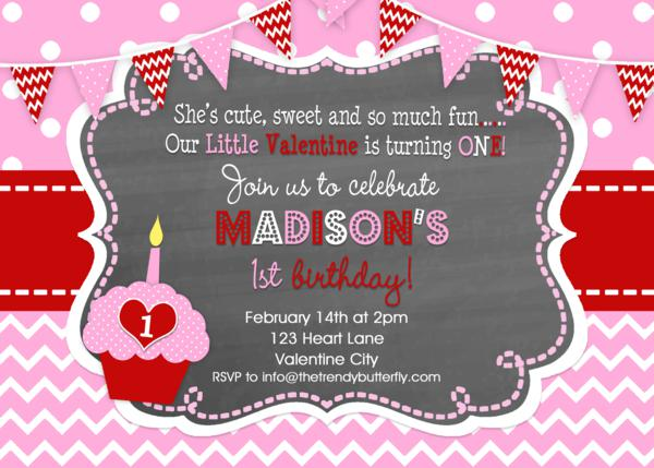 Girls ValentineS Day Party ValentineS Birthday Invitation