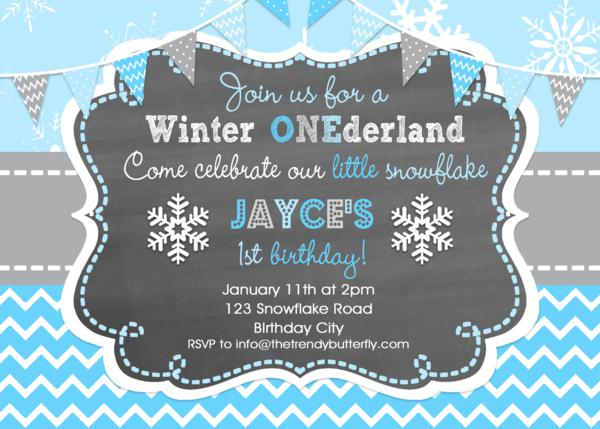 Winter Snowflake Birthday Invitations 1st Birthday Winter