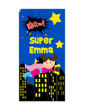 Girls Super Hero Towel, Personalized Superhero beach towel