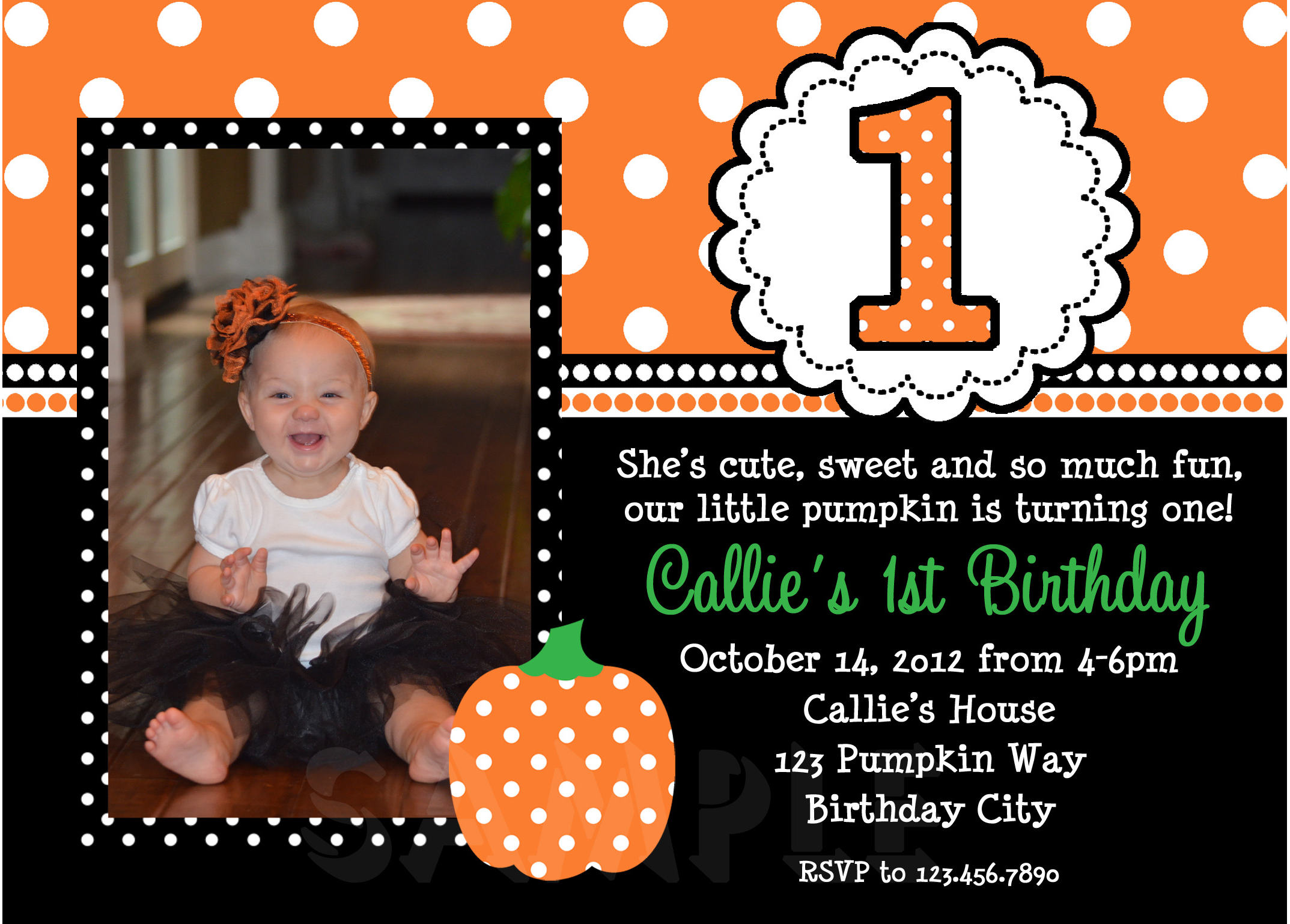 Printable Birthday Invitations, Girls Pumpkin Fall Party