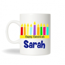Hanukkah Menorah Mug, Hanukkah Gift, Holiday Coffee Mug, Personalized Coffee Mug, Hot Chocolate Mug, Personalized Hanukkah Gift,