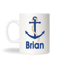 Blue Anchor Nautical Coffee Mug , Anchor Mug, Personalized Tea Mug, Personalized Cup