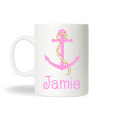 Pink Anchor Nautical Coffee Mug , Anchor Mug, Personalized Tea Mug, Personalized Cup