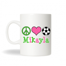 Peace Love Soccer Mug , Peace Coffee Mug, Soccer Personalized Tea Mug, Custom Coffee Mug
