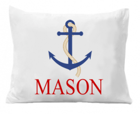 Beach Pillowcase - Anchor Pillow case - Standard Personalized Pillowcase - Boat Anchor Pillow Case - Summer Vacation Gift - Beach Gift